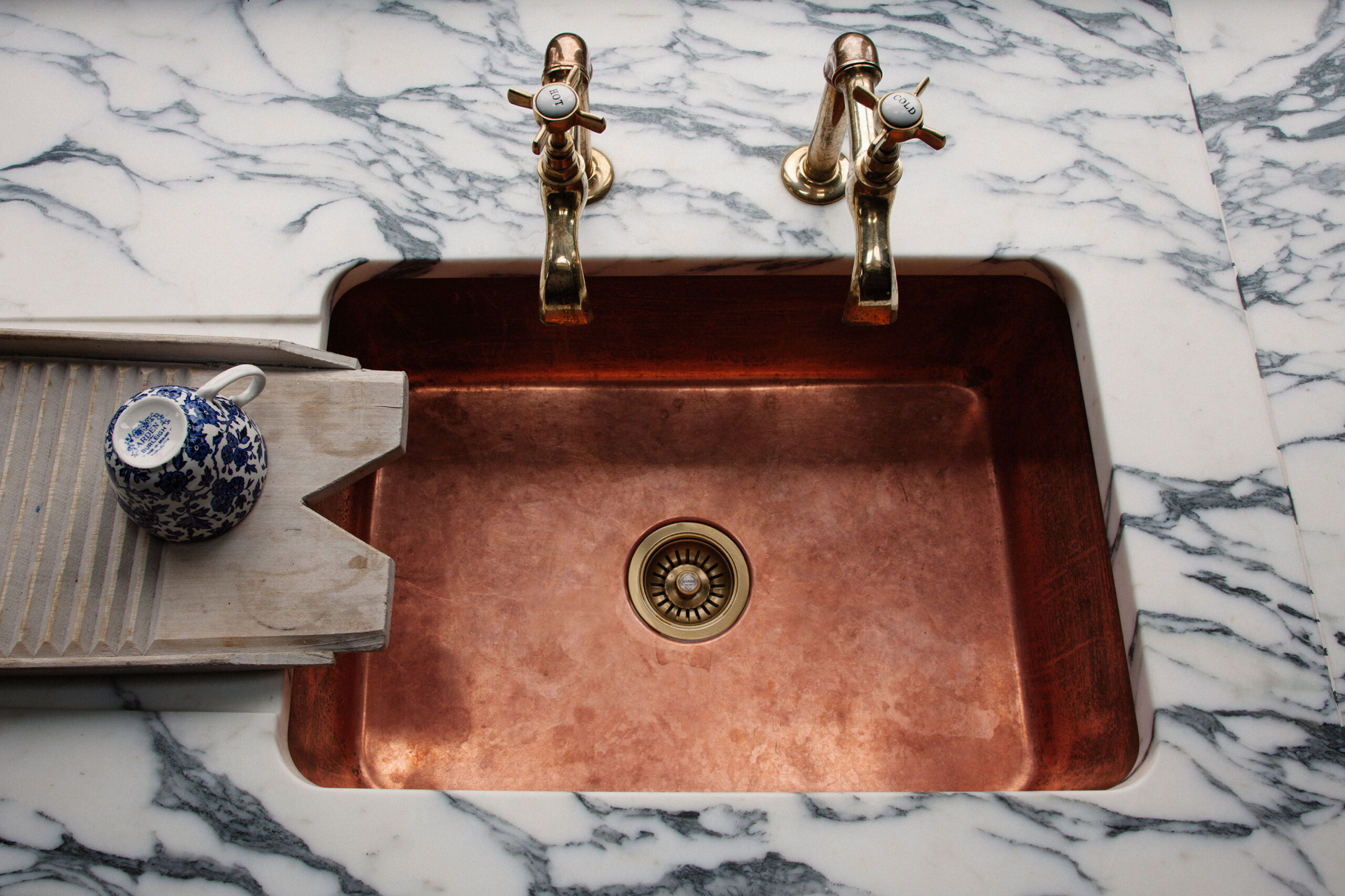 Copper Sink And Marble Worktops Scene Therapy